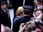 Margaret Thatcher MP arrives to take office / Thatcher greets members of the crowd in Downing Street / Margaret Thatcher waves to crowd from steps of...