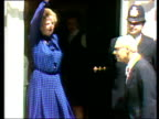Margaret Thatcher Prime Minister and Denis Thatcher waving to press and entering 10 Downing Street after Conservative victory General Election 10 Jun...