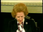 Margaret Thatcher Prime Minister speaking about signing the Anglo Irish Agreement Hillsborough Castle 15 Nov 85