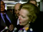 Margaret Thatcher Prime Minister speaking to press about her experience of hotel bomb IRA bombing of Grand Hotel Brighton 12 Oct 84