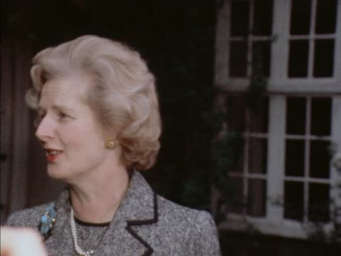 Margaret Thatcher talks to press having been declared the new and first female leader of the Conservative Party