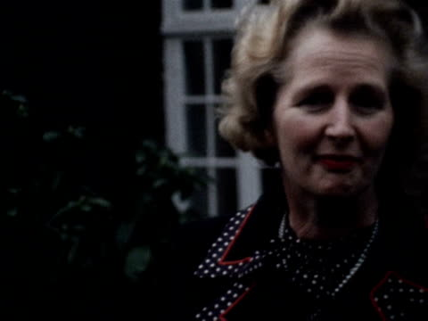 Margaret Thatcher talks to reporters on her chances of winning the Tory party leadership vote 1975