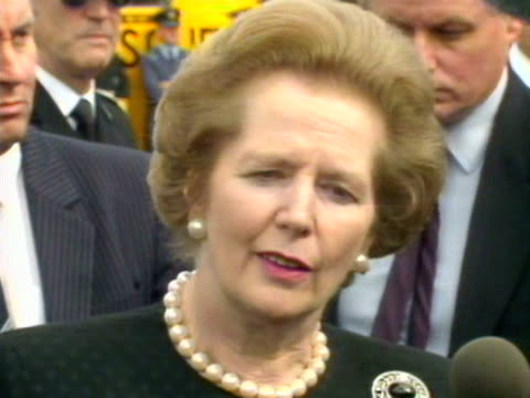 Margaret Thatcher talks to the press about the government donating one million pounds to the Piper Alpha disaster relief fund