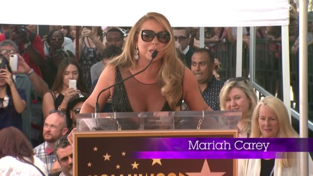 CHYRON Mariah Carey Honored With Star On The Hollywood Walk Of Fame on August 05 2015 in Hollywood California