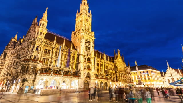 Marienplatz in Munich by sunset
