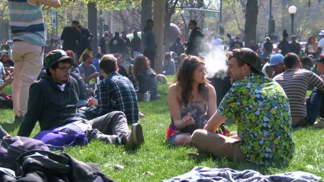 Marijuana smoking holiday at Lincoln Park in Denver Colorado