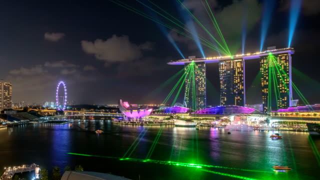 Marina Bay laser light show close - Singapore