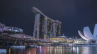 WS T/L Marina Bay Sands and river at night / Singapore