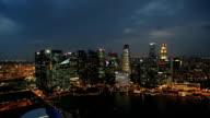 Marina Bay skyscrapers night illuminated bay travel