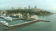 AERIAL Marina with hotels in background / Miami, Florida, USA