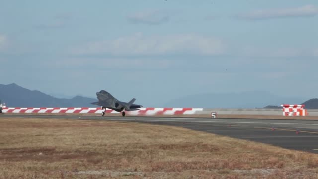 US Marine Corps F35B Lightning II aircraft with Marine Fighter Attack Squadron 121 lands at Marine Corps Air Station Iwakuni Japan Nov 15 2017 The...