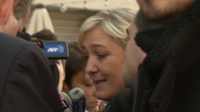 Marine Le Pen French presidential candidate and head of the Front National party of France in her Washington debut attempting to visit US Congress...