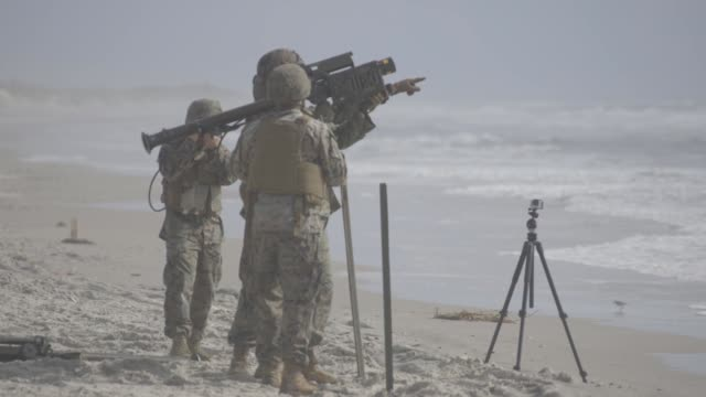 US Marines with 2nd Low Altitude Air Defense Battalion fire FIM92 Stinger Missiles and M240B machine guns during a livefire training exercise at Camp...