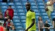 Mario Balotelli enjoys a work out with his City team mates with Sergio Aguero and EDin Dzeko double woodwork strike before james Milner scores...
