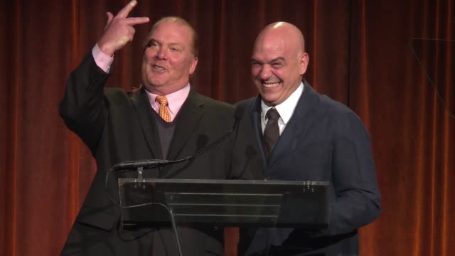 SPEECH Mario Batali Michael Symon get the evening started at Food Bank For New York City CanDo Awards Dinner 2017 at Cipriani Wall Street on April 19...
