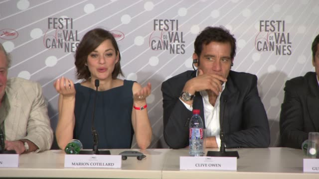 Marion Cotillard on her character learning Italian Clive Owen on the music in the film at 'Blood Ties' Press Conference at Palais des Festivals on...