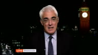 Mark Carney appointed next Governor of the Bank of England ENGLAND London GIR INT Live 3way interview with Alistair Darling MP from Westminster SOT...