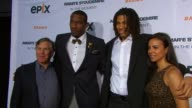 Mark Greenberg Amare Stoudemire Chris Copeland and guest at EPIX Premiere Of Amare Stoudemire IN THE MOMENT at Marquee on April 18 2013 in New York...