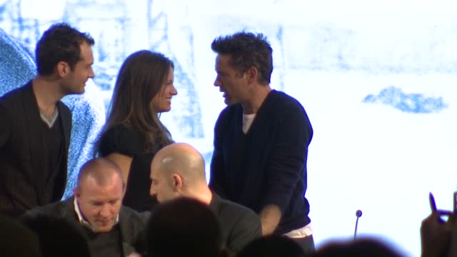 Mark Strong Susan Downey and Joel Silver Guy Richie Jude Law at the Sherlock Holmes Press Conference at London England