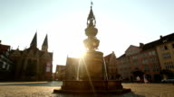 Market place with fountain and church in Braunschweig