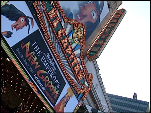 Marquee at the Premiere of 'The Emperor's New Groove' at the El Capitan Theatre in Hollywood California on December 10 2000