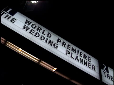 Marquee at the Premiere of 'The Wedding Planner' on January 23 2001