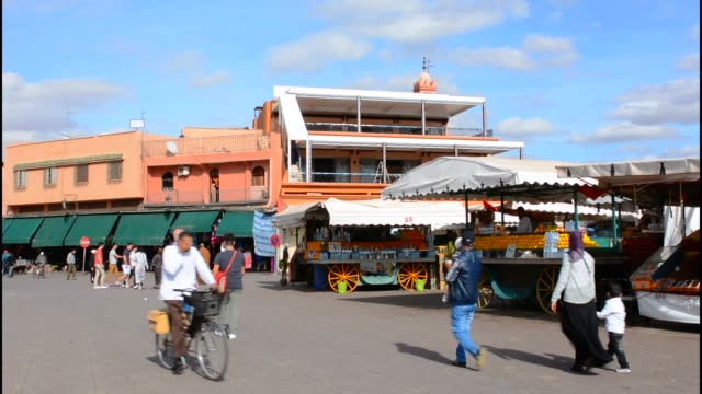Marrakech Morocco main medina Djemaa El-Fna founded in 1070 with shops and restaurants