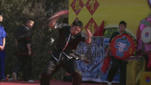 A martial artist swings around and cracks a whip during a performance in Beijing.