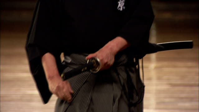 A martial arts instructor is dressed in a traditional Japanese kimono. Available in HD.