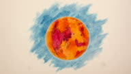 Martian Planetoid Stop-Motion Design, Blue Background