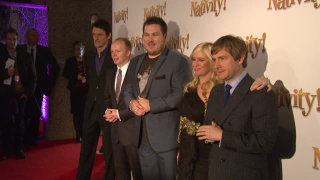 Martin Freeman Jason Watkins Marc Wootton and Debbie Isitt at the Nativity London Premiere at London England