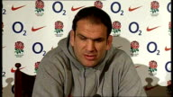 Martin Johnson press conference ahead of England /Wales match ENGLAND London INT Martin Johnson press conference SOT talks of who is playing and why...