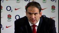 Martin Johnson resigns as England coach ENGLAND London Twickenham INT **BEWARE Martin Johnson and Rob Andrew at press conference Martin Johnson press...