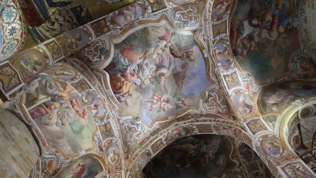 Martorana (Santa Maria dell'Ammiraglio) church, paintings on the ceiling, Palermo, Sicily