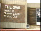 Marylebone cricket club row ITN MS 'The Oval Home of Surrey County Cricket Club' letters on wall PULL OUT PAN LR to entrance
