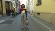 Marzia Bellotti wearing Casadei shoes Zara pants vintage belt Palm Angels top and vintage Louis Vuitton bag is seen during Milan Fashion Week...