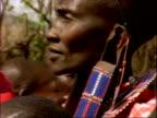 CU Masai tribeswoman performing ritual dance, Kenya