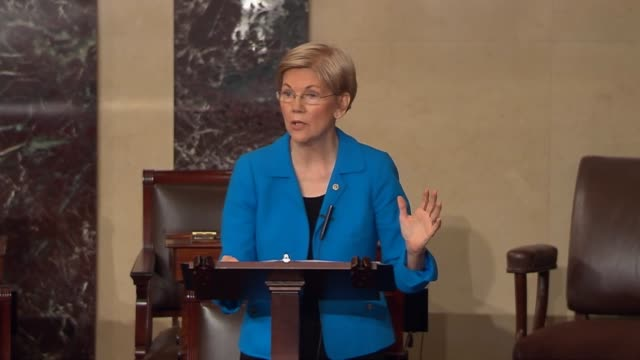 Massachusetts Senator Elizabeth Warren says that Donald Trump makes a big show of strutting around pretending to be tough but he is too chicken to...