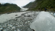 WS Massive Glacial Ice Chunk with Roiling Creek behind / Franz Josef Glacier, New Zealand