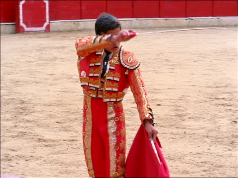 Matador raising sword + cape / steps aside as bull charges through cape / Bogota, Colombia