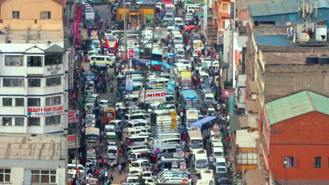 Matatus & Pedestrians On Accra Road Nairobi  Kenya  Africa