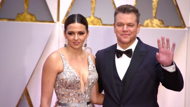 Matt Damon and Luciana Bozán at 89th Annual Academy Awards Arrivals at Hollywood Highland Center on February 26 2017 in Hollywood California 4K