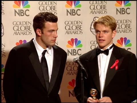 Matt Damon at the 1998 Golden Globe Awards at the Beverly Hilton in Beverly Hills California on January 18 1998