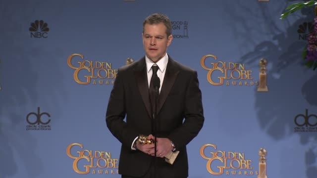 SPEECH Matt Damon at the 73rd Annual Golden Globe Awards Press Room at The Beverly Hilton Hotel on January 10 2016 in Beverly Hills California