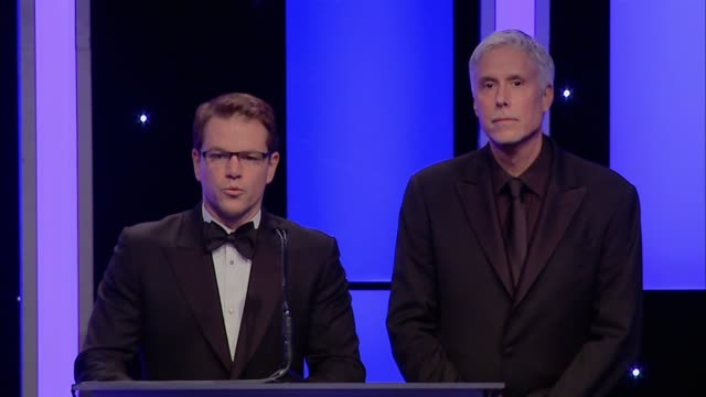 SPEECH Matt Damon Christopher Rouse Barney Pilling Sandra Adair at 65th Annual ACE Eddie Awards in Los Angeles CA