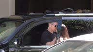 Matt Damon gives with wife Luciana Damon a kiss goodbye outside the Four Seasons Hotel in Beverly Hills in Celebrity Sightings in Los Angeles