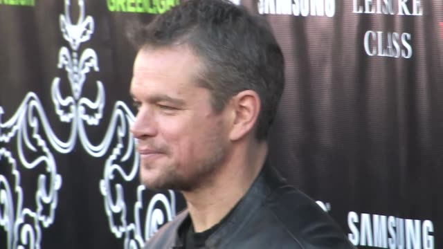 Matt Damon greets fans at the The Leisure Class Premiere at Ace Hotel in Los Angeles in Celebrity Sightings in Los Angeles