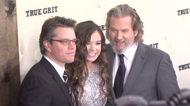 Matt Damon Hailee Steinfeld and Jeff Bridges at the 'True Grit' New York Premiere at New York NY