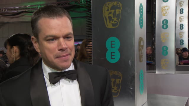 INTERVIEW Matt Damon on being happy for Leonardo DiCaprio his first BAFTA's having a night out with his wife New Jason Bourne film at The EE British...