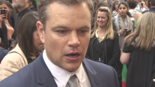 INTERVIEW Matt Damon on how the film came together the car chase on the Las Vegas Strip at 'Jason Bourne' European Premiere on July 11 2016 in London...